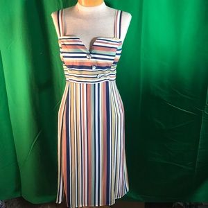 Eva Rose Striped Sleeveless Dress Fitted Bodice XL